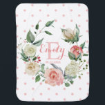 """Pink Watercolor Floral Polka Dots Girl Nursery Baby Blanket<br><div class=""""desc"""">Adorable baby girl soft and cuddly blanket in blush pink,  rose and white with polka dots. Painted watercolor floral wreath with monogram,  name and option birth date. Makes perfect gift for newborn,  baby shower,  birthday... Lovely personalized decor for the nursery! Makes a great keepsake!</div>"""