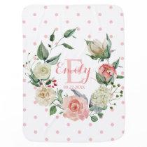Pink Watercolor Floral Polka Dots Girl Nursery Baby Blanket