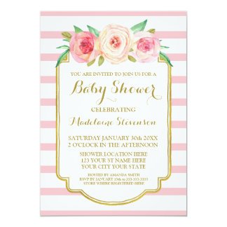 Pink Watercolor Floral Rose Stripes Baby Shower Card