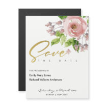 PINK WATERCOLOR FLORAL SAVE THE DATE MAGNETIC CARD