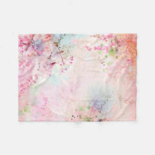 Pink Watercolor Floral Small Fleece Blanket