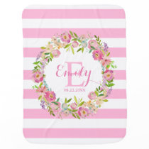 Pink Watercolor Floral Stripes Girl Nursery Baby Blanket