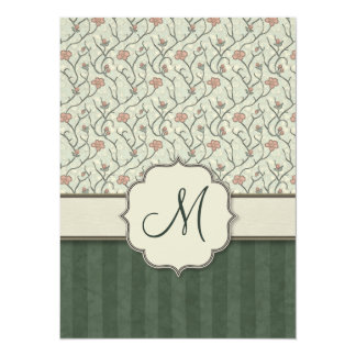 Pink Watercolor Floral Vines, Stripes and Monogram Card