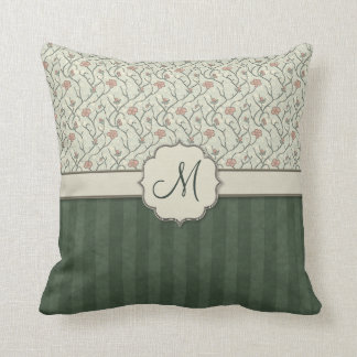 Pink Watercolor Floral Vines, Stripes and Monogram Throw Pillows