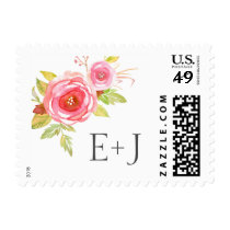 Pink Watercolor Floral Wedding initials postage