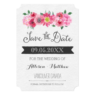 Pink Watercolor Floral Wedding Save the Date Card