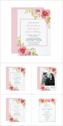 Pink Watercolor Floral Wedding Suite 3605