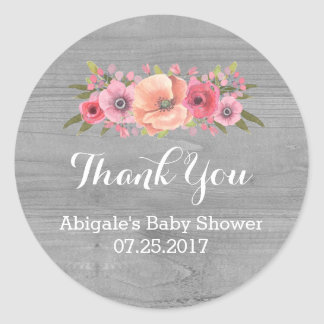 Pink Watercolor Floral Wood Baby Shower Favor Tags Classic Round Sticker