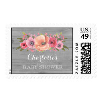 Pink Watercolor Floral Wood Baby Shower Stamps