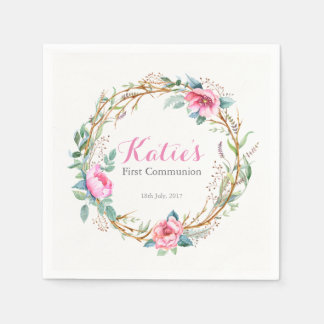 Pink Watercolor Floral Wreath Party Napkins