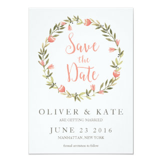 Pink Watercolor Floral Wreath Save the Date 5x7 Paper Invitation Card