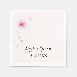 Pink Watercolor Flower Cocktail Napkin
