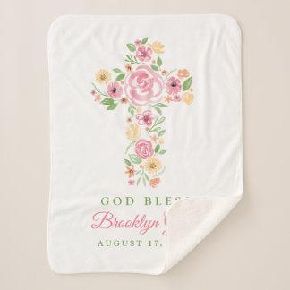 Pink Watercolor Flower Cross Baptism / Christening Sherpa Blanket