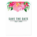 Pink Watercolor Flower Floral Summer Save the Date Postcard