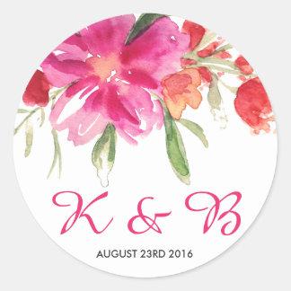 Pink Watercolor Flower Posy Monogram Sticker