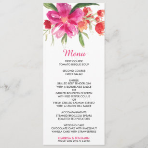 Pink flowers menu wedding invitations announcements zazzle pink watercolor flower posy wedding menu card mightylinksfo