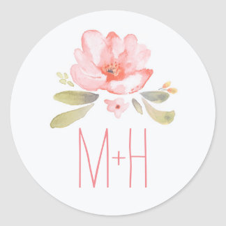 Pink Watercolor Flower Wedding Classic Round Sticker
