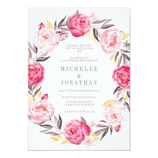Pink watercolor flower wreath wedding invitation zazzle pink watercolor flower wreath wedding invitation mightylinksfo