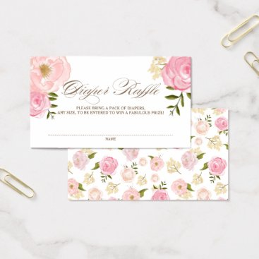 Toddler & Baby themed Pink Watercolor Flowers Baby Shower Diaper Raffle Business Card