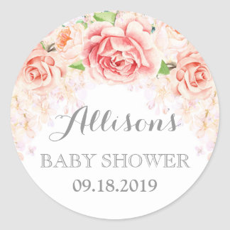 Pink Watercolor Flowers Baby Shower Favor Classic Round Sticker