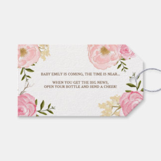Pink Watercolor Flowers Baby Shower Gift Tag
