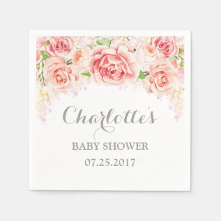 Pink Watercolor Flowers Baby Shower Paper Napkin at Zazzle