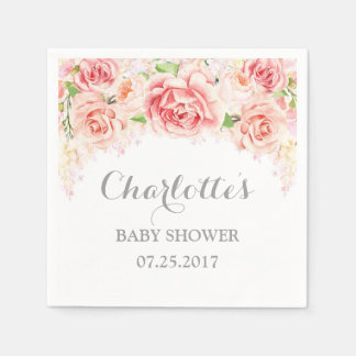 Pink Watercolor Flowers Baby Shower Paper Napkin