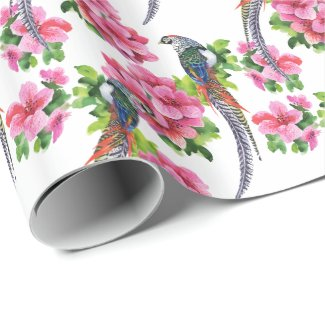 Pink Watercolor Flowers & Birds Pattern Wrapping Paper