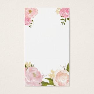 Pink Watercolor Flowers Blank Vertical Card