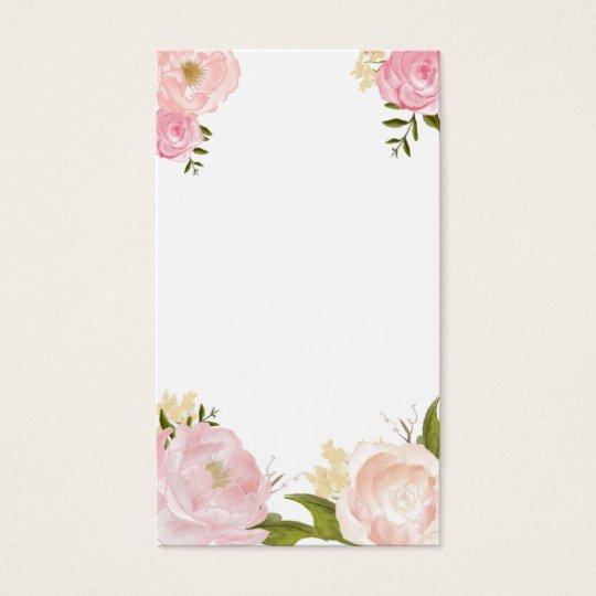Pink Watercolor Flowers Blank Vertical Card Zazzle