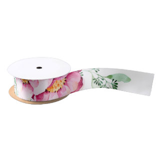 pink watercolor flowers bouquet white satin ribbon