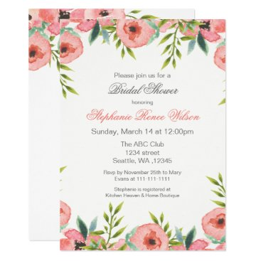 Pink Watercolor Flowers Bridal Shower Invitations