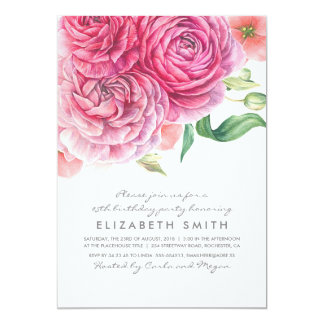 Pink Watercolor Flowers Elegant Birthday Party Card