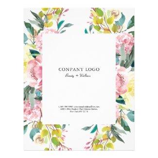 Pink watercolor flowers flyer