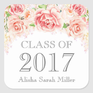 Pink Watercolor Flowers Graduation Class of 2017 Square Sticker