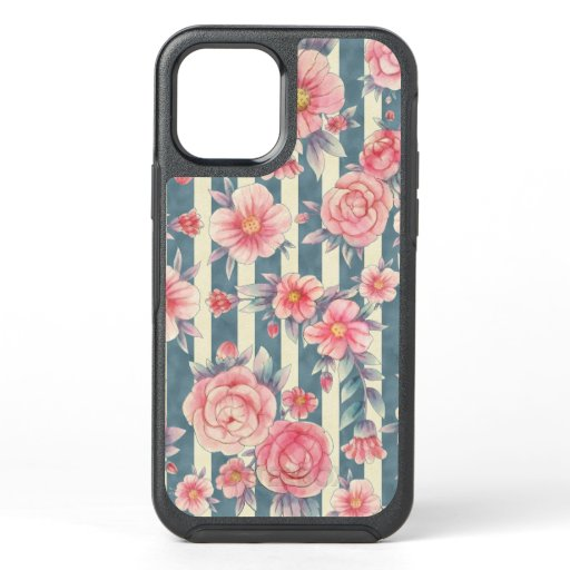 Pink Watercolor Flowers on Stripes OtterBox Symmetry iPhone 12 Case
