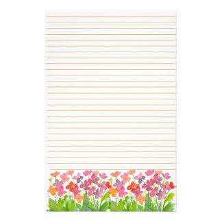 Pink Watercolor Flowers Orange Lined Stationery