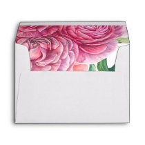Pink Watercolor Flowers Pattern Wedding Envelope