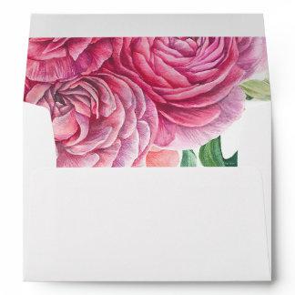 Pink Watercolor Flowers Pattern Wedding Envelope