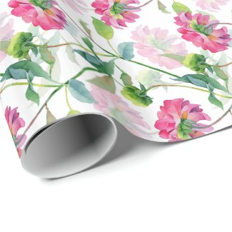 Pink Watercolor Flowers Pattern Wrapping Paper