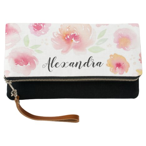 Pink Watercolor Flowers Personalized Name Clutch