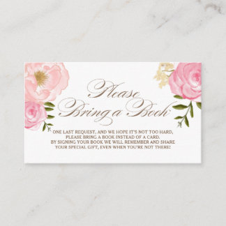 Pink Watercolor Flowers Please Bring a Book Card