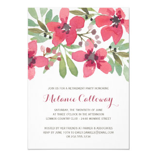 Pink Watercolor Flowers | Retirement Party 5x7 Paper Invitation Card