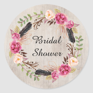 Pink Watercolor Flowers Save the Date Classic Round Sticker