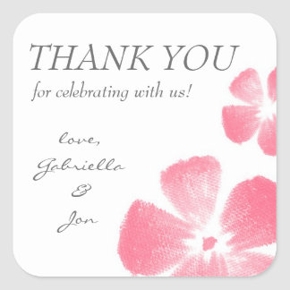 Pink Watercolor Flowers Thank You Stickers