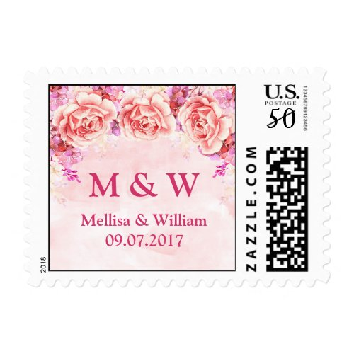 Pink Watercolor Flowers Wedding Monogram Stamps
