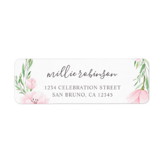 Pink Watercolor Flowers Wreath Wedding Label