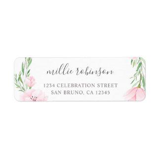 Pink Watercolor Flowers Wreath Wedding Label