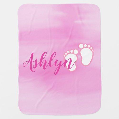 Pink Watercolor Footprint Baby Feet Name Swaddle Blanket