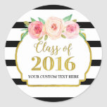 Pink Watercolor Gold Black Stripes Graduation 2016 Classic Round Sticker